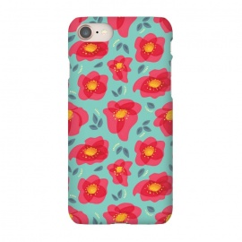 iPhone 8/7  Pretty Flowers With Bright Pink Petals On Blue by Boriana Giormova