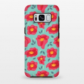 Galaxy S8 plus  Pretty Flowers With Bright Pink Petals On Blue by