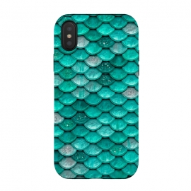 iPhone Xs / X  Mint Glitter Metal Mermaid Scales by