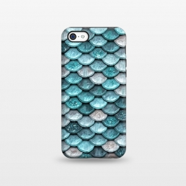iPhone 5C  Silver and Blue Glitter Mermaid Scales by Utart