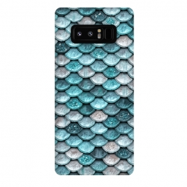 Galaxy Note 8  Silver and Blue Metal Glitter Mermaid Scales by Utart