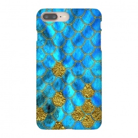 iPhone 8/7 plus  Blue and Gold Glitter Metal Mermaid Scales by Utart