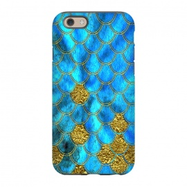 iPhone 6/6s  Blue and Gold Glitter Metal Mermaid Scales by Utart