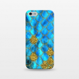 iPhone 5/5E/5s  Blue and Gold Glitter Metal Mermaid Scales by