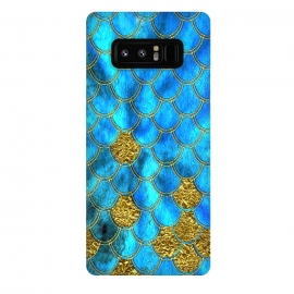 Galaxy Note 8  Blue and Gold Glitter Metal Mermaid Scales by