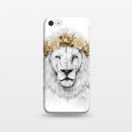 iPhone 5C  Festival lion II by Balazs Solti (lion,animal,cat,drawing,humor,funny,floral,flower,summer,spring,crown)