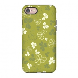 iPhone 8/7  Lucky Clover in Green and White by Paula Ohreen