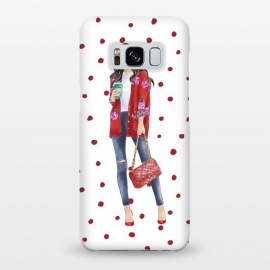 Galaxy S8+  Coffee City Girl with Red Polka Dots by DaDo ART