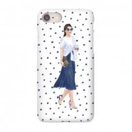 iPhone 8/7  Fashion Coffee Girl with Blue Polka Dots by DaDo ART