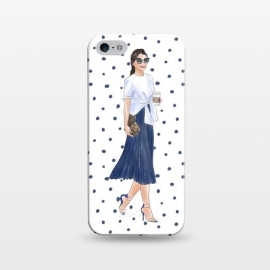 iPhone 5/5E/5s  Fashion Coffee Girl with Blue Polka Dots by DaDo ART