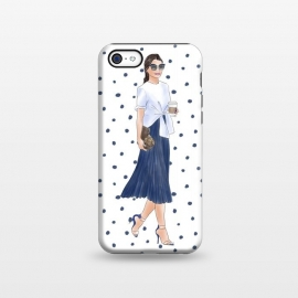iPhone 5C  Fashion Coffee Girl with Blue Polka Dots by DaDo ART