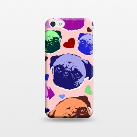 iPhone 5C  Pug Puppy Dog Love Hearts Pattern  by BluedarkArt