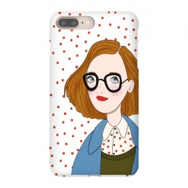 iPhone 8/7 plus  Trendy Fashion Girl with Red Polka Dots by DaDo ART