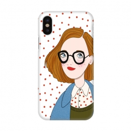 iPhone X  Trendy Fashion Girl with Red Polka Dots by DaDo ART