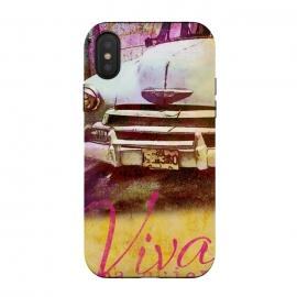 iPhone Xs / X  Viva Cuba Old Car Mixed Media Art by