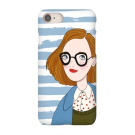 iPhone 8/7  Fashion Girl and Blue  Stripes  by DaDo ART