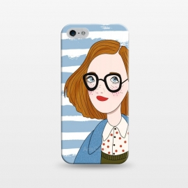 iPhone 5/5E/5s  Fashion Girl and Blue  Stripes  by DaDo ART