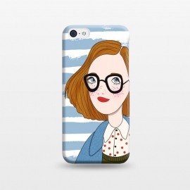 iPhone 5C  Fashion Girl and Blue  Stripes  by DaDo ART
