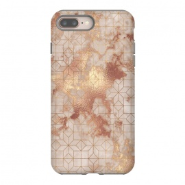 iPhone 8/7 plus  Simply Minimalistic  Rose Gold Shapes Marble Pattern by Utart