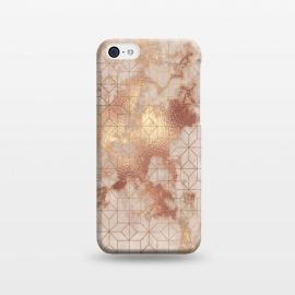 iPhone 5C  Simply Minimalistic  Rose Gold Shapes Marble Pattern by Utart
