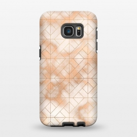 Galaxy S7 EDGE  Modern Quadrangle Shapes Rose Gold Marble Pattern by Utart