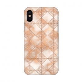 iPhone X  Abstract Minimalistic Rose Gold Marble Quadrangles  by Utart