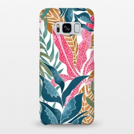 Galaxy S8+  Botanicalia by Uma Prabhakar Gokhale (graphic design, pattern, nature, tropical, exotic, leaves, botanical, palm, palms, palm leaves, earthy, pink, blue, aqua, foliage)