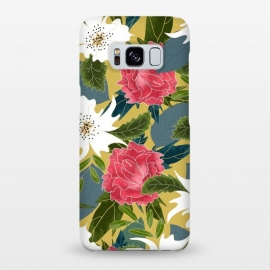 Galaxy S8+  Phulora by Uma Prabhakar Gokhale (graphic design, watercolor, pattern, floral, nature, botanical, blossom, bloom, flowers, summer, green, pink, white, yellow, blue, colorful)