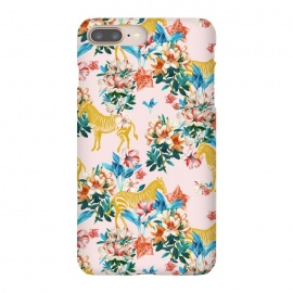 iPhone 8/7 plus  Floral and Zebras by  (graphic design, pattern, animals, wild life, golden, gold, flowers, floral, nature, botanical, blush, blue, pink, green, seamless, zebra, stripes, exotic)