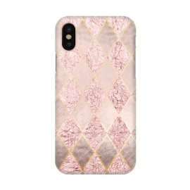 iPhone X  Rose Gold Glitter Argyle by
