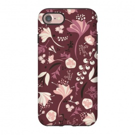 iPhone 8/7  Beautiful Blooms on Burgundy by Paula Ohreen
