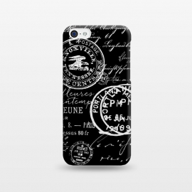 iPhone 5C  Vintage Handwriting White On Black by Andrea Haase