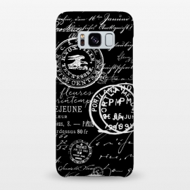 Galaxy S8+  Vintage Handwriting White On Black by Andrea Haase