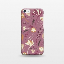 iPhone 5C  Beautiful Blooms on Plum by Paula Ohreen