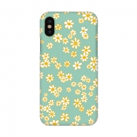 iPhone X  Ditsy Daisies on Teal by Paula Ohreen