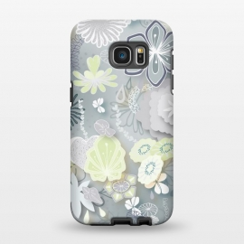 Galaxy S7 EDGE  Paper-Cut Florals on Grey by Paula Ohreen