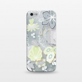 iPhone 5/5E/5s  Paper-Cut Florals on Grey by Paula Ohreen