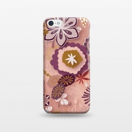 iPhone 5C  Paper-Cut Florals on Pink by Paula Ohreen