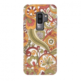 Galaxy S9 plus  Retro Colouring Book in Green, Red and Gold by