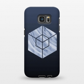 Galaxy S7 EDGE  Marbled Hexagon In Shades Of Blue by Andrea Haase