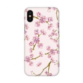 iPhone X  Pink Spring Cherry Blossom Pattern by Utart