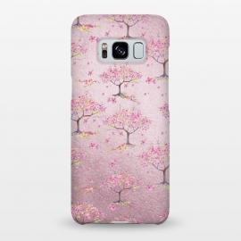 Galaxy S8+  Pink Metal Cherry Blossom Trees Pattern by Utart