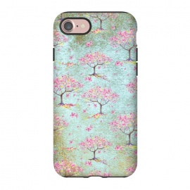 iPhone 8/7  Shiny Teal Spring Metal Cherry Blossom Tree Pattern by Utart