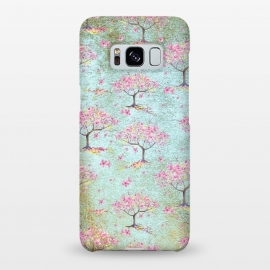 Galaxy S8+  Shiny Teal Spring Metal Cherry Blossom Tree Pattern by Utart