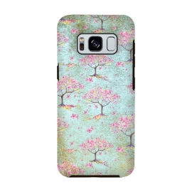 Shiny Teal Spring Metal Cherry Blossom Tree Pattern by Utart