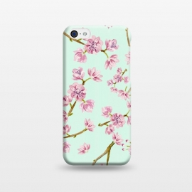 iPhone 5C  Aqua Teal and Pink Cherry Blossom Branch Spring Pattern by Utart