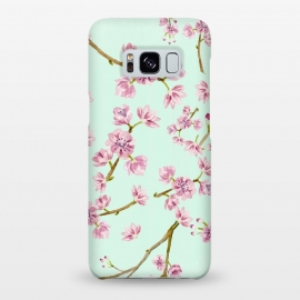 Galaxy S8+  Aqua Teal and Pink Cherry Blossom Branch Spring Pattern by Utart