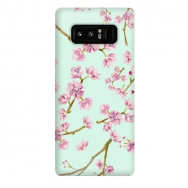 Galaxy Note 8  Aqua Teal and Pink Cherry Blossom Branch Spring Pattern by Utart