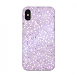 iPhone X  Purple Watercolor Spring Cherry Blossom Pattern by Utart