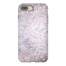 Purple Gray Metal Shiny Cherry Blossom Pattern by Utart